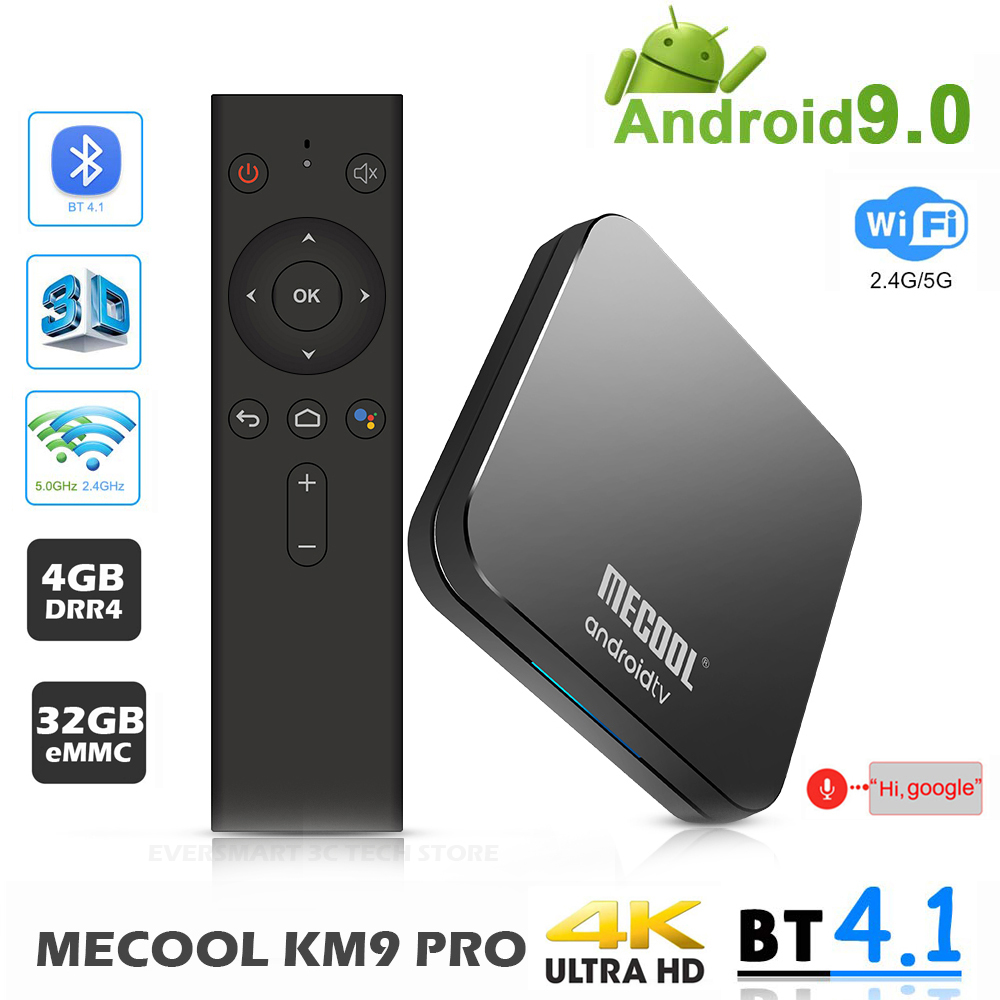 Mecool KM9 4G 32G TV Box Android 9.0 Amlogic S905X2 USB3.0 Smart 4K Set Top Box 2.4 g/5G Dual WIFI Bluetooth 4.1 Android TV Box-in Set-top Boxes van Consumentenelektronica op  Groep 1