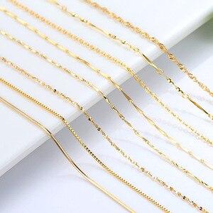 Подлинное ожерелье 14k золотого цвета для женщин, цепочка с волной воды, змеиная кость/Звездная/крестовая цепочка, 18 дюймов, ожерелье, кулон, х...