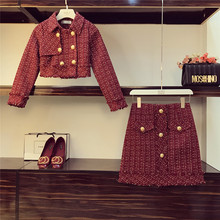 Two Piece Set Women New Autumn Short Tweed Jacket + Buttons Skirt Two Piece Suit Tweed Coat Skirt Ladies Small Fragrance Outfits(China)