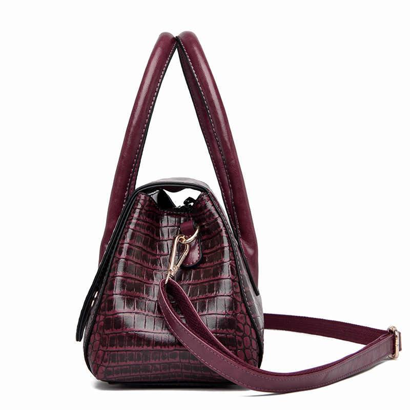 ワニのパターン女性のためのクロスボディバッグ 2020 高級ハンドバッグの女性のショルダーバッグデザイナー大容量革トートバッグ