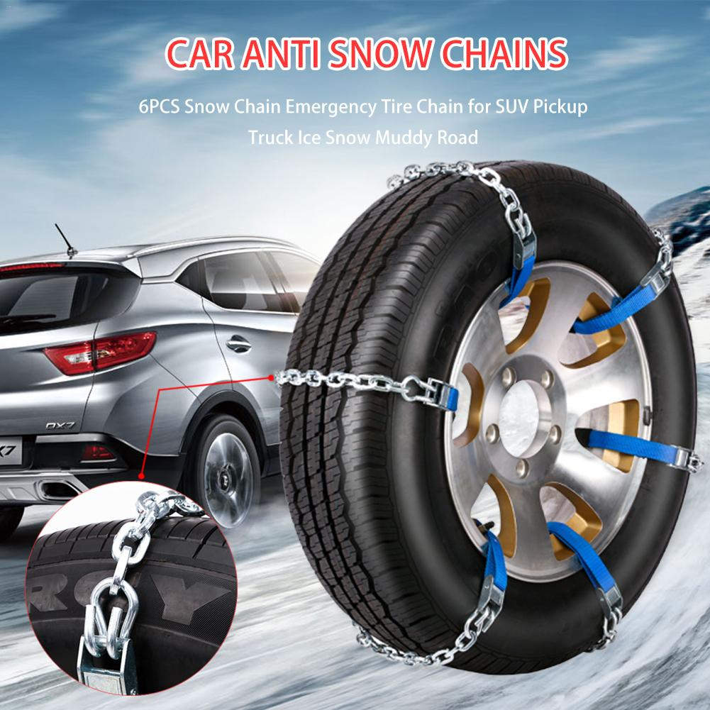 6PCS Snow Chain Emergency Tire Chain For SUV Pickup Truck Ice Snow Muddy Road