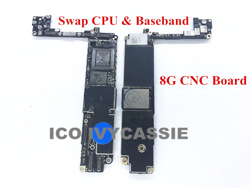 For iPhone 8 8G CNC Board Drilled With CPU Baseband 64GB 256GB iCloud Locked Motherboard Remove CPU Baseband Swap Mainboard
