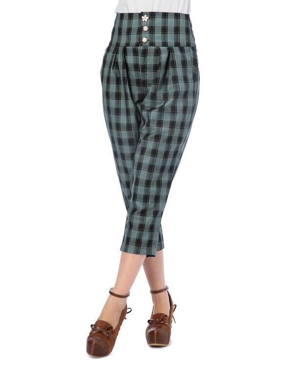 liz lisa British bow-tied plaid priting   capri     pants