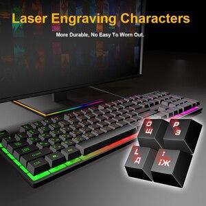 Image 3 - Проводная игровая клавиатура с имитацией механической клавиатуры 104 колпачков клавиатуры с RGB подсветкой эргономичная компьютерная клавиатура