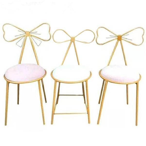 Modern Minimalist Bedroom Backrest Princess Nail Makeup Chair Ins Bow Net Red Girl Heart Dresser Stool