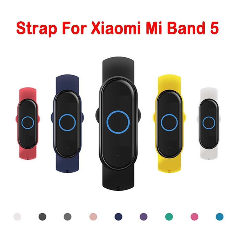 Xiaomi Mi 밴드 용 스트랩 5 스트랩 스포츠 시계 Miband 용 실리콘 팔찌 스트랩 5 NFC 팔찌 교체 스마트 액세서리