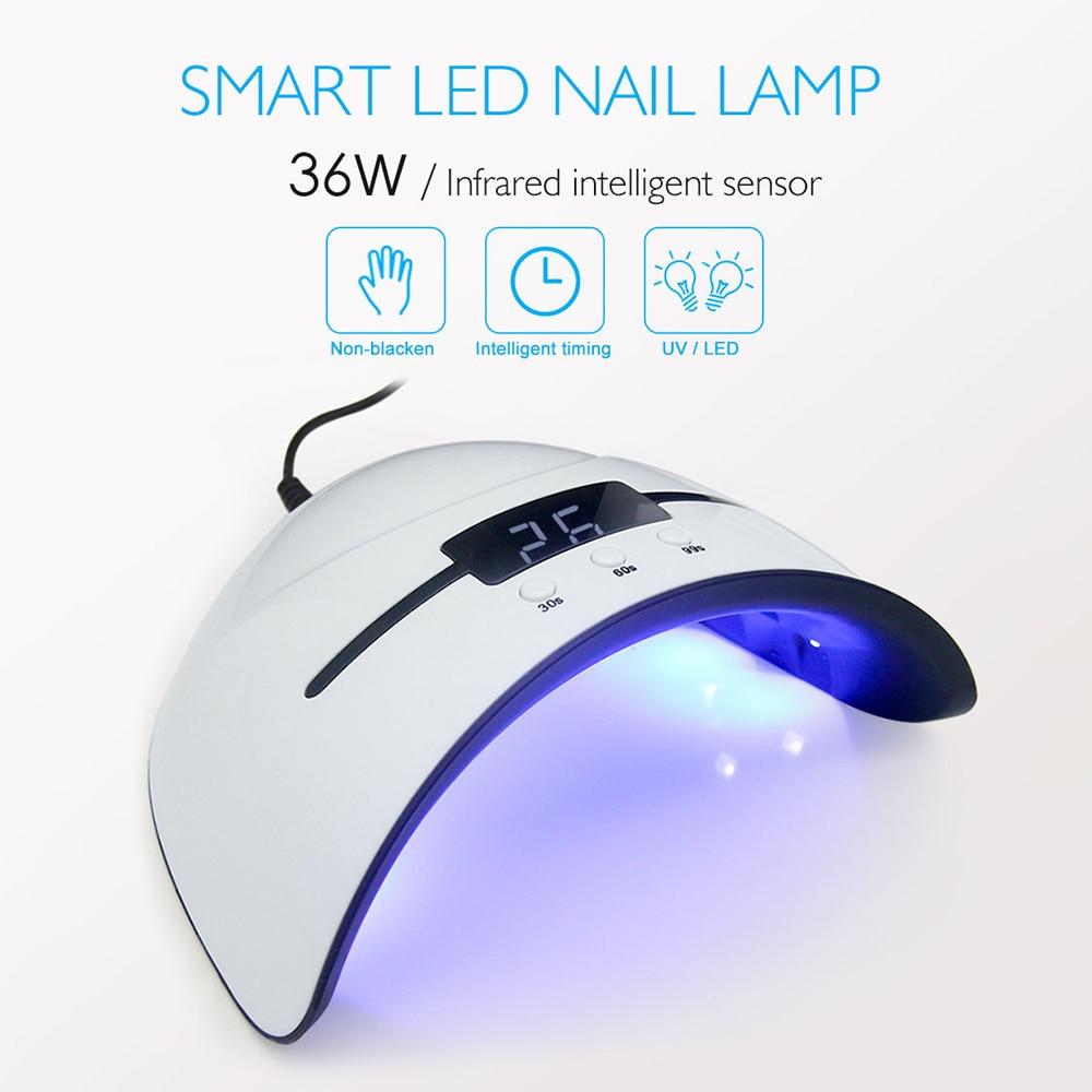 36W LED Nail Lamp With 12pcs Leds UV Lamp For Manicure Gel Nail Dryer Nail Polish Drying Lamp Auto Sensor Manicure Tools Machine