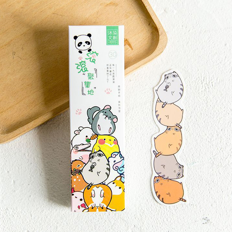 30 Pcs/pack Cute Cartoon Animal Park Bookmark Stationery Paper Bookmarks Book Reading Holder Message Card