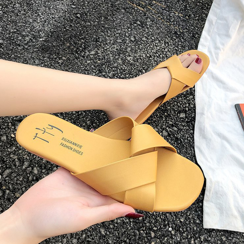Women Slipper Round Toe Green Yellow Colors  Summer Beach Slides Flip Flops Outdoor casual sewing Shoes Woman Solid Slides 1