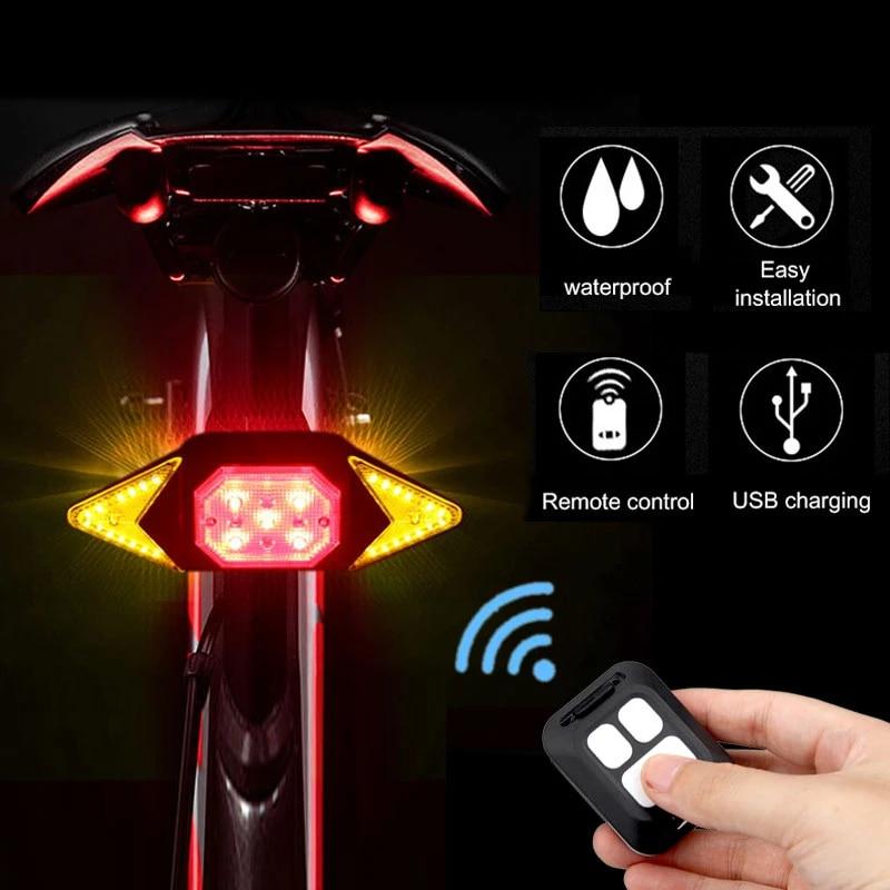 MTB Bike Bicycle LED Signal Light Intelligent Rear Lamp Warning Lamp w// Remote