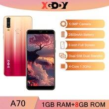 Xgody a70 3g smartphone 18:9 android 8.1 sim duplo celular 1gb 8gb 2800mah quad core celular 5mp câmera desbloquear telefones celulares