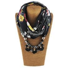 Jzhifiyer chiffon scarf feminino spring neck hajibs ring shawl bandana printed pendant jewellery shawls muffler foulard