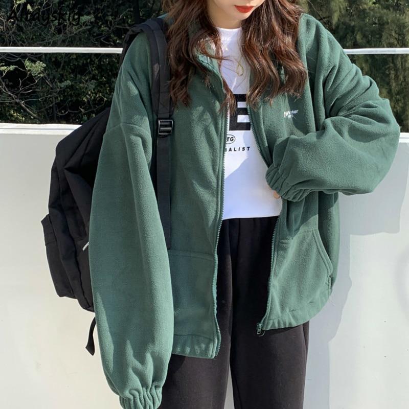 Hoodies Women Zip-up Turn-down Collar Printed Pocket Long Sleeve Korean Style New Trendy Casual BF Ulzzang Harajuku Womens Daily 1
