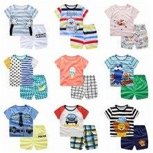 Sommer Neue Ankunft Kleinkind Junge Kinder Kleidung Cartoon Print Kurzarm T-shirt + Shorts 2 stücke Baby Junge Mädchen Tücher outfit