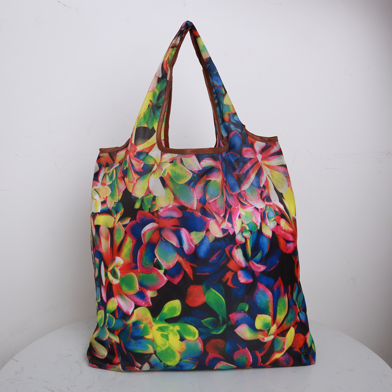 Floral Fantasy Foldable Handbags Eco Storage Bags Green  Shopping Bag Tote Polyester Folding Pouch 2019