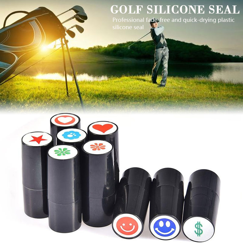 RANDOM Pattern Romantic Golf Ball  Stamper Stamp 3 Color Not Fade Silicone Golf Seal Durable Super Bright Outdoor Sporting
