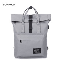 2019 New Women External USB Charge Backpack Canvas Male  Girls Laptop School Bags for teens