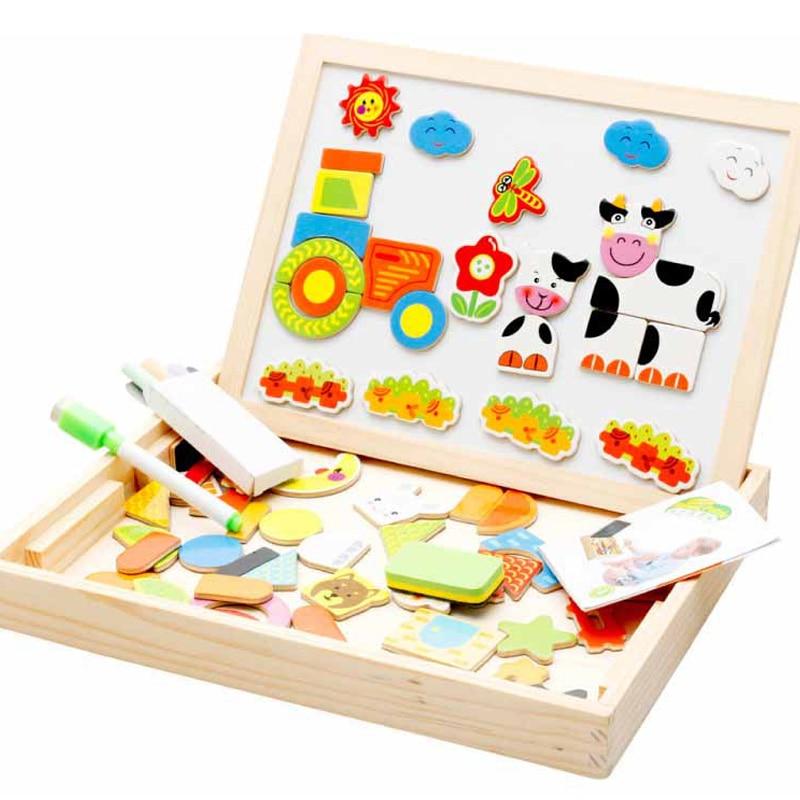 Доска для рисования, магнитная головоломка, двойной мольберт, детская деревянная игрушка, альбом для рисования, подарок для детей