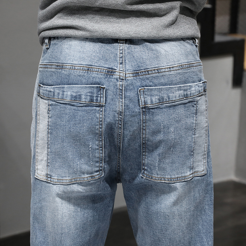 KSTUN Jeans Men Light Blue Elastic Waist Trendy Side Buttons Streetwear Drawstring High Quality Brand Jeans Male Joggers Pants 19