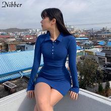 Nibber – robes taille haute en coton à revers élastique, couleur unie, simple, style collégien, doux, printemps, 2020