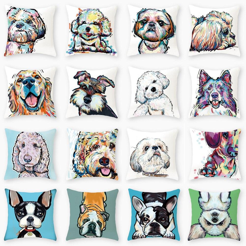 Наволочка с принтом собаки из мультфильма 45*45 наволочки диванные подушки наволочки украшение дома из полиэстера наволочки kd-0001