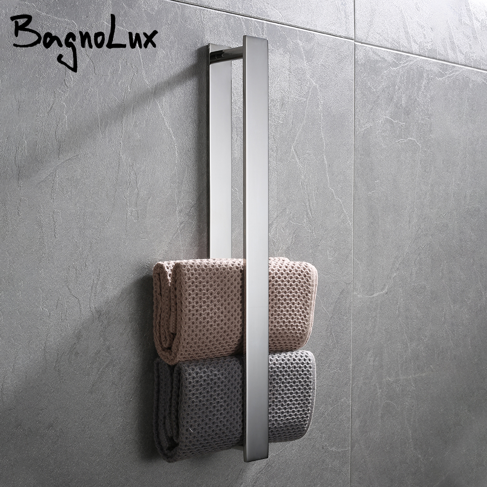 Black Chrome Stainless Steel Hanger With Hook Self-adhesive Towel Rack Modern Bathroom Kitchen Accessories Towel Rack