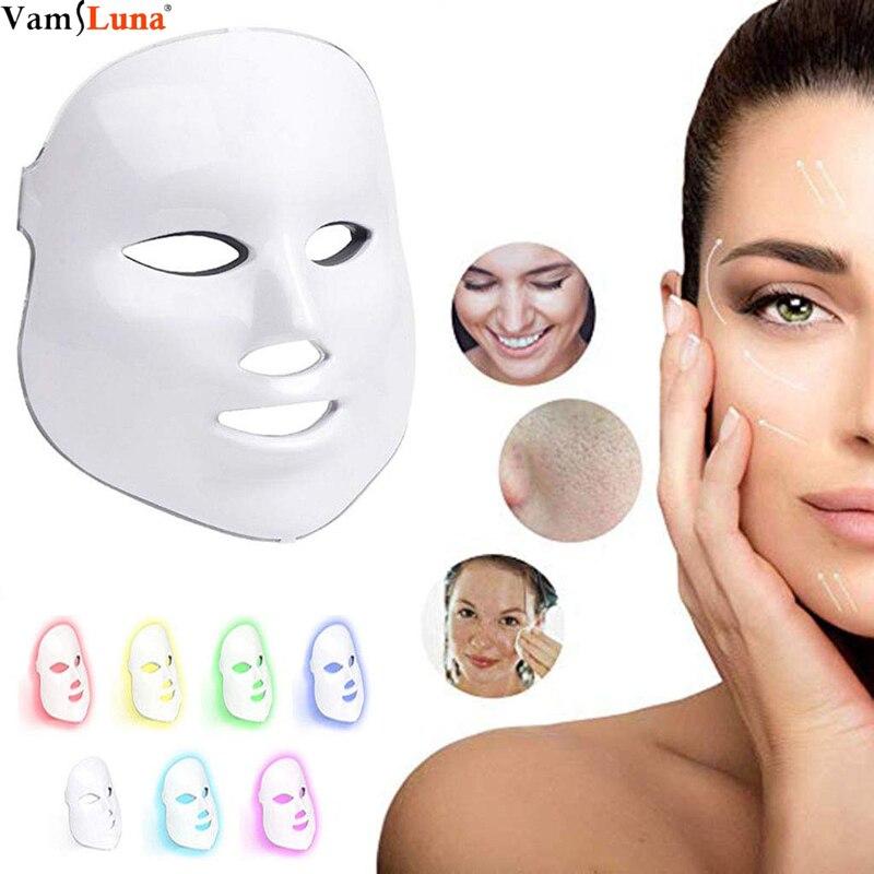 7 cor LED Máscara Facial-Rejuvenescimento Photon Terapia de Luz para a Pele Saudável-Facial Cuidados Com A Pele Anti-Envelhecimento máquina da beleza