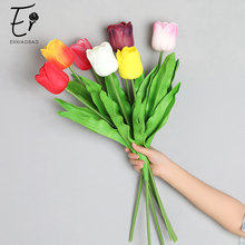 Erxiaobao High Quality Big Tulips Artificial Flowers Pink Purple Green Red White Real Touch PU for Home Wedding Decor