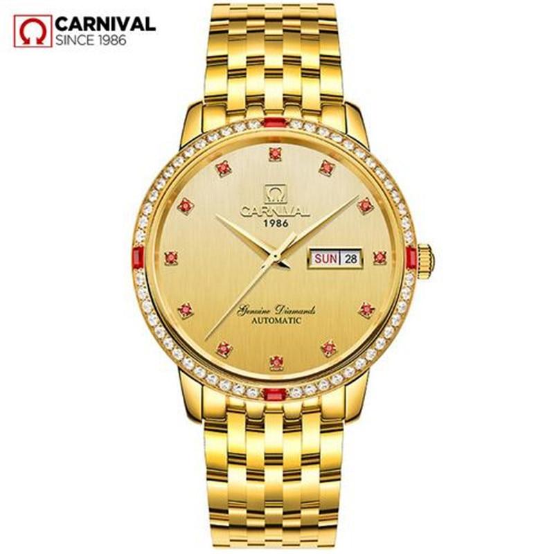 Montre carnaval homme rouge diamant cadran automatique mécanique montre acier inoxydable étanche semaine Date or montres reloj hombre