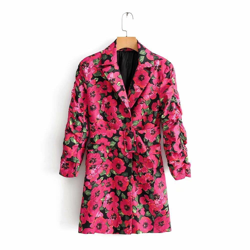 RZIV Autumn and winter leisure suit female long section of decorative flower print belt suit