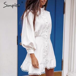 Image 4 - Simplee Streetwear kadın beyaz elbise uzun kollu fırfır hollow out lady yaz elbisesi bahar geometrik fener cepler mini elbise
