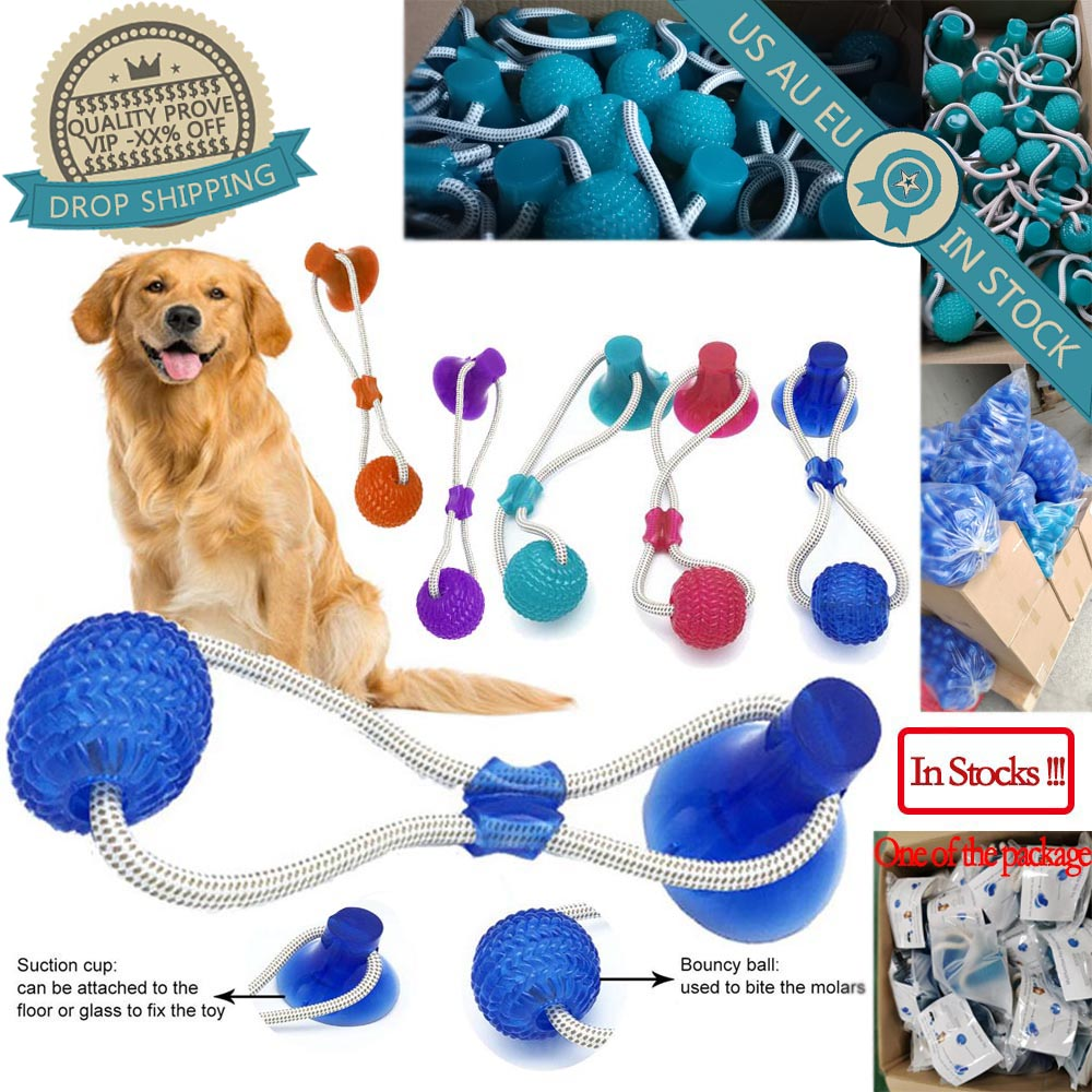 Pet Cats Dogs Interactive Suction Cup Push TPR Ball Toys Elastic Ropes Pet Tooth Cleaning Chewing Playing IQ Treat Puppy Toys()