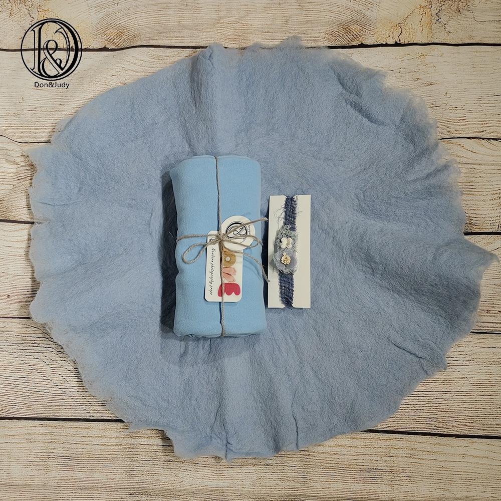 Don&Judy Wool Blanket+ Stretch Wrap+Headband Baby Photo Props Blanket Studio Infant Shooting Background Baby Swaddling Wrap