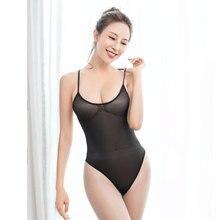 Bodysuit Women Leotard Thong Sheer Dance-Wear Backless Shiny Sexy High-Cut Shaper Stage