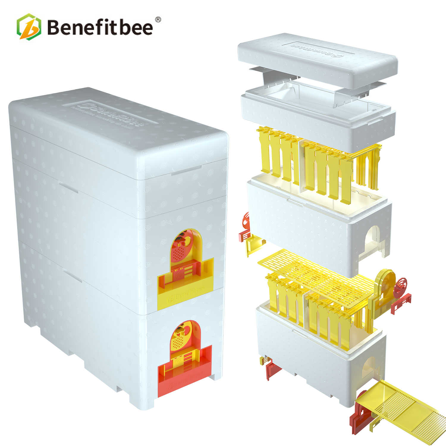 Benefitbee Brand Multi-Functional Queen Bee Hive Plastic Foam Material Double Box Queen Rearing Beehive Beekeeping Tool Bee Nest