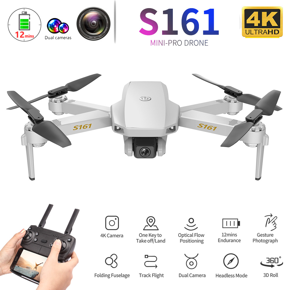 CSJ S161 Pro Mini Drone with Camera 4K Optical Flow Positioning Dual Camera Mini Dron Altitude Hold Gesture Photos RC Quadcopter