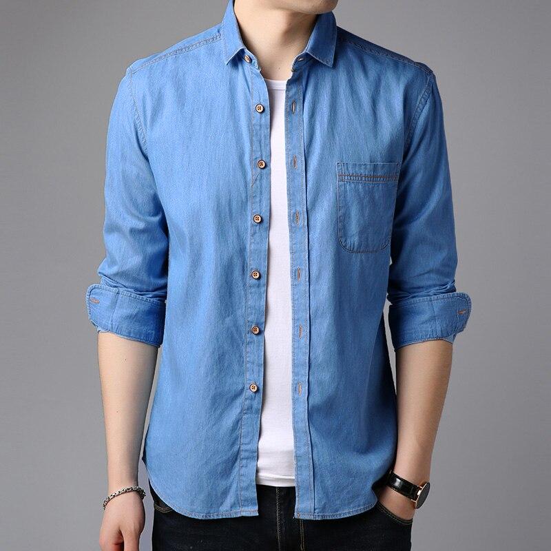 Casual Men Denim Shirt Long Sleeve Pure Cotton Slim Fit Jeans Blouse Man Dress Shirts Fashion Design Solid Color