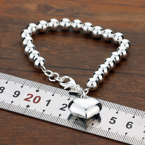 Image 5 - Fashion 100% 925 sterling silver Heart Bracelet Women solid silver Hand catenary Girl simple ball bracelet Charm Fine Jewelry