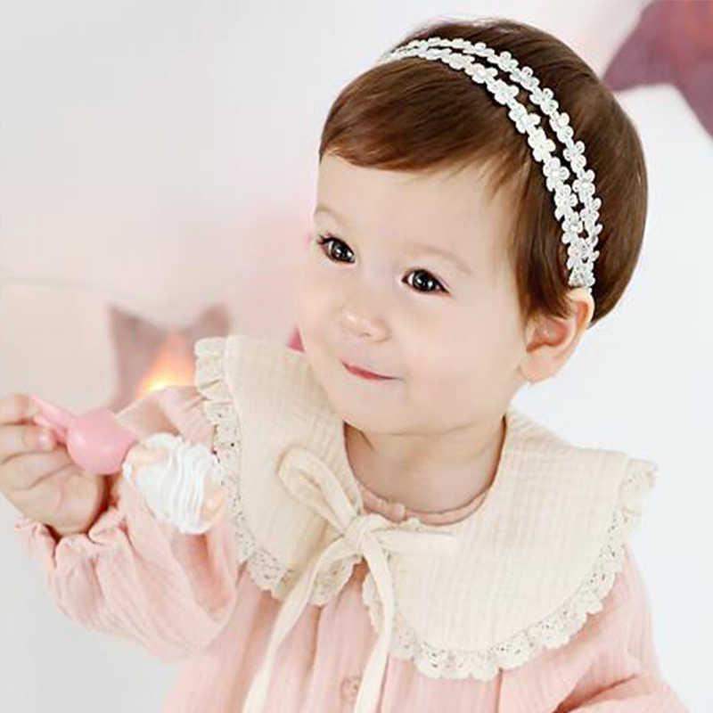 1PCS Nieuwe Gouden Kant Bloemen Baby Hoofdband Kinderen Meisjes haarbanden wit Kant Bloemen hoofdband voor een meisje haarband