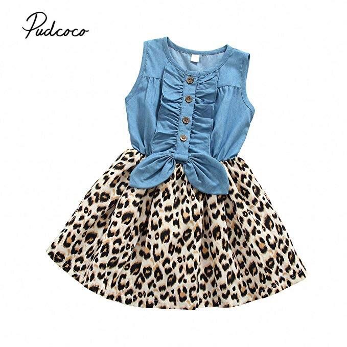 Girl Denim Leopard Printed Princess Dress Toddler Kid Baby Sleeveless Dresses