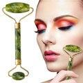 Нефритовый массажный ролик для лица, Женский натуральный массажер для шеи, гуаша, скребок, набор для тонкого подтяжки, инструменты для похуд...