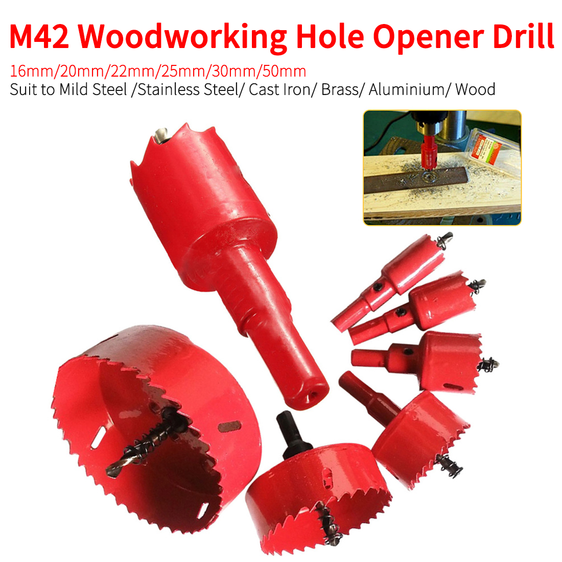 16mm-50mm M42 Steel Drilling Hole Saw Drill Bit Cutter For Aluminum Iron Stainless Steel DIY Woodworking Hole Opener