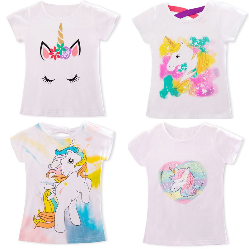 2020 Girls Summer Tops Unicorn Party Children White T Shirts Unicorn Baby Boys Girl Clothes Baby Girls Tshirt Kids Clothing Tees