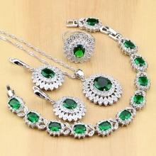 Conjunto de pendientes/colgante/Collar/anillos/pulsera de circonia cúbica verde para mujer, de Plata de Ley 925, joyería nupcial