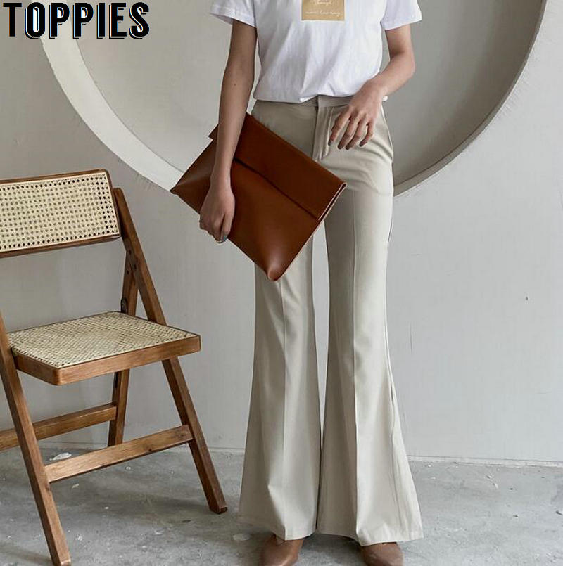 Toppies Women Slim Flare Pants High Waist Trousers Summer Side Split Bell Bottom Pants Korean Fashion