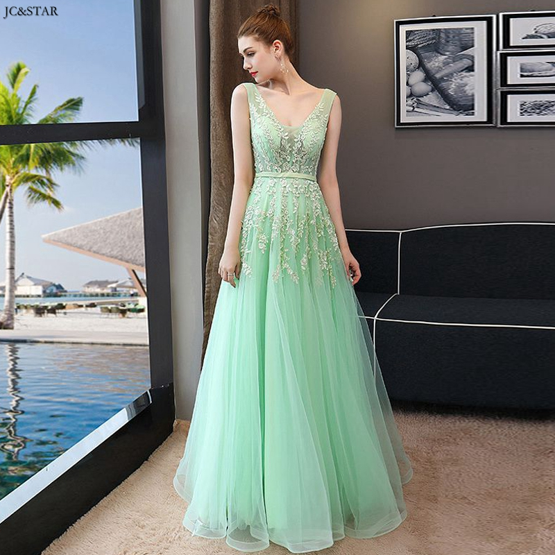 Vestido Madrinha New Tulle Sexy V Neck A Line Mint Green Pink Bridesmaid Dress Long Robe De Ceremonie Femme Pour Mariage