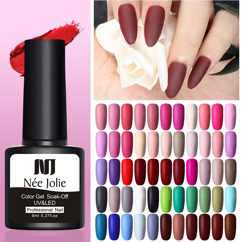 NEE JOLIE 8ml  Color Gel Polish Matte Nail Gel One-shot Color Nail Art Gel Soak Off UV Gel Varnish Idea Nail Beauty