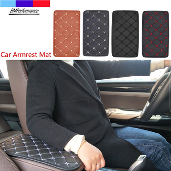 PU Leather Car Armrest Mat Box Cover Protector Pad For Bmw E36 E46 E90 E91 E92 E93 E81 E82 E87 E88 E34 E39 E60 E61 E84 E83 Z4 image
