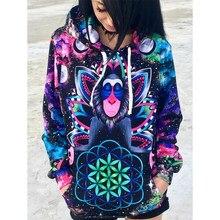 Neue Anknfte Modus D Druck Kawaii Sweatshirt Femmes Sweatshirts Hoodies Frauen Jugend Weiblich Taschen Kreative Plus Gre