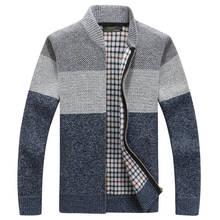 2019 Business Sweaters Mens Sweater Coat Male Velvet Wool Jackets Men Zipper Knitted Thick Casual Knitwear M-3XL